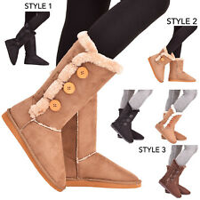 Ladies Womens Winter Boots Snow Warm Fur Button Ankle Comfy Mid Calf Shoes Size