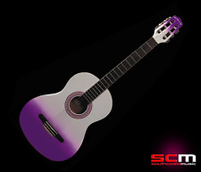 Gypsy Rose 7/8 Classical Guitar with Gig Bag, Stickers & DVD White Purple Fade