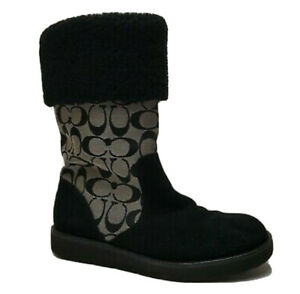 Coach Kally Womens Boots Signature C Black Suede Leather Snow Boots Size 9B