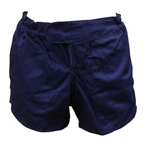 "PHILLIPS TUFTEX Cotton Heavyweight Rugby Shorts Navy Blue 30"" Tie Cord Waist"