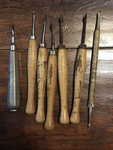 7 Assorted Vintage Clay Sculpting Modeling Tools Wood Spatula Morilla