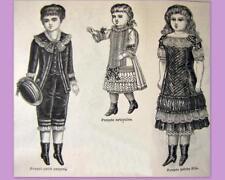 PATRON LA MODE ILLUSTREE, vêtement poupée ancienne, n° 49 de 1882, DOLL PATTERN