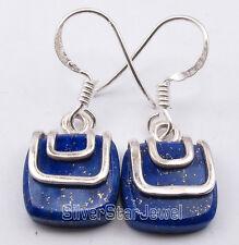 """925 Solid Silver CUTE LAPIS LAZULI Dangle Earrings 1.1"""" Women's Jewellery"""