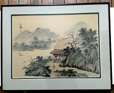 Chinese Silk Paintin Landscape Hut Mountains River Sailing Boat