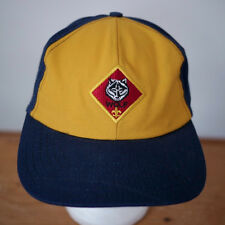 Vintage Boy Scout Wolf Cub Embroidered Patch Blue Gold Hat BSA S-M Adjust USA