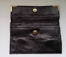 Black Leather Clutch Bag  Vintage  1970s Vintage