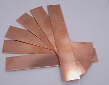 """Raw Copper Sheet, Bracelet Cuff Blanks 6"""" x 1"""" 26ga Package Of 6"""