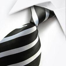 Uk0022 Black White Striped Silk Classic Jacquard Woven Men's Tie Necktie
