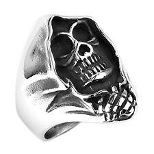 Biker Rocker Ring Sensenmann Totenkopf Skull Horror Edelstahl Massiv Ghost Rider