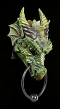 Türklopfer - Drache Kryst grün - Fantasy Dragon Tür Deko Figur Wand Kopf