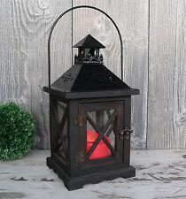 Laterne Holz schwarz - braun Windlicht dunkelbraun antik Holzlaterne Metall Glas