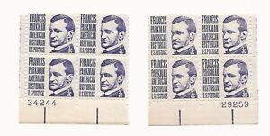 U.S. Plate Block (2)Blocks - Francis Parkman - 3 cent Stamps