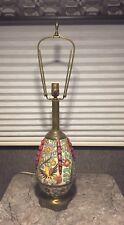 Rare Vintage Italian Majolica Pottery Lamp Birds Floral Fabulous Italy