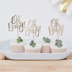Oh Baby, Gold Baby Shower Party Cup Cake Toppers - pack of 12