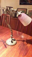 Lampe Art Nouveau Deco, pied bronze, tulipe signée SCHNEIDER, lamp