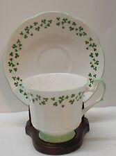 Teacup and Saucer Shamrock Clovers Royal Crest Fine Bone China Vintage England