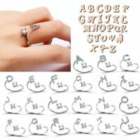 26 Letter Crystal Silver Open Knuckle Ring Adjustable Lady Jewellery Wedding New