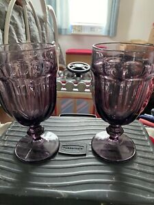 "Libbey Gibraltor Goblets 7"" Purple. Set of 2"