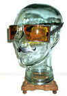 Antique WWII Cesco Amber Goggles Sunglasses Safety Glasses Vtg Old Fun Steampunk