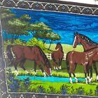 Velvet Wall Hanging Horses Vintage Large Size Bright Colors Cotton