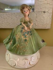 Vintage Josef Originals Music Box Figurine Lady In Green Rose Dress