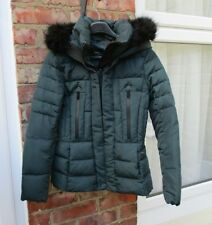 ZARA GREEN DOWN PADDED QUILTED PUFFA PUFFER COAT JACKET. FUR HOOD. SIZE M. VGC