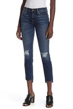NWT 7 For All Mankind Ankle Skinny in Midnight Desert Destroyed Stretch Jeans 25