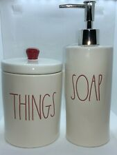 Rae Dunn 2019 Red Christmas Bathroom Set of 2 SOAP Dispenser & THINGS Container