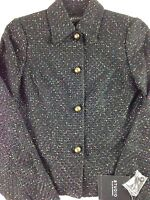 Liz Claiborne Tweed Jacket Womens Luxurious Black Colorful Business Blazer Coat