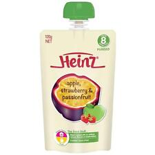 5 X HEINZ APPLE STRAWBERRY & PASSIONFRUIT PUREE POUCH 120G FROM 8 MONTHS +