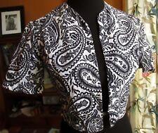 SMALL True Vtg 70s Handmade Paisley Black/White Print Open Vest Blouse Top