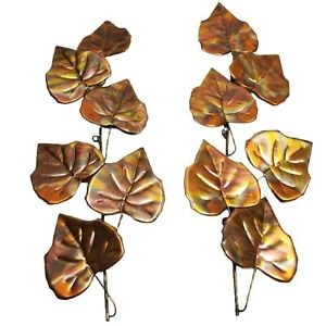 Vintage Wall Hanging Spray Leaves Branch Brass Copper Welded Metal Art Lot of 2