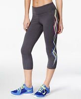 New IDEOLOGY Women's Printed Capri Cropped Leggings Charcoal Yoga Active Workout