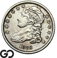 1833 Capped Bust Dime, Choice XF++ Early Date Silver Type Collector Coin, 10c!