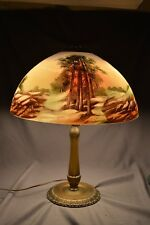 Obverse and Reverse Painted Forest Glass  Shade Table Lamp Pittsburgh  lamp era