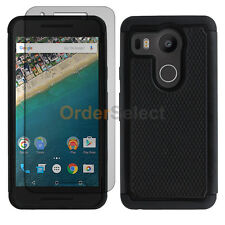 NEW Hybrid Rubber Case+LCD Screen Protector for Android LG Google Nexus 5X Black