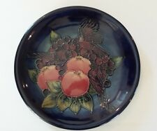 "MOORCROFT ""FINCH & FRUIT"" ART POTTERY 10"" PLATE, SALLY TUFFIN, c. 1980's"