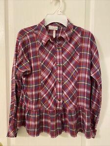 Matilda Jane Girls Sz 12 Take A Bow Top Flannel Shirt Make Believe EUC