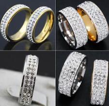 30stk Zirkon 2/3 Reihe voll Strassstein Kristall edelstahl Ringe Verlobungsring