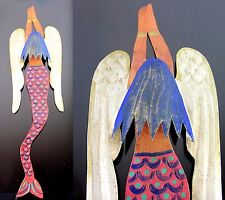 "Hand Painted Tin Mermaid Mexican Folk Art Ornament 13"" Sirena Angel Wall Hanging"