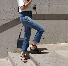 BNWT RE/DONE 'high rise crop' jeans blue distressed denim straight leg button 24
