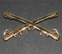 CIVIL WAR Cross Saber UNION US Cavalry CSA Confederate Rebel BRASS LAPEL HAT PIN
