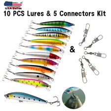 Fishing Lures Crankbaits Jerkbait Minnow Lot Hooks Crank Bait Bass Tackle 10 Pcs