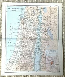 1890 Antique Map of Palestine Israel The Holy Land Jerusalem Old 19th Century