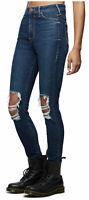 True Religion Women's Caia Ultra High Rise Super Skinny Stretch Jeans w/ Rips