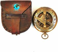 Antique Nautical Push Button Sundial Compass | Brass Compass with Leather Carry