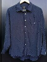 Unisex Pop England Polka dot Spotty Long Sleeve Shirt 100% Rayon Navy Uk M 14