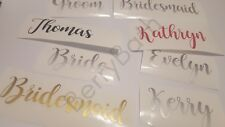 2 x Personalised name stickers vinyl decal wine glass water bottle wedding