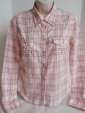 Ladies Abercrombie & Fitch Pink Brown Plaid Long Sleeved Blouse Western Snaps M