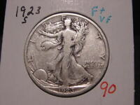 1923-S WALKING LIBERTY HALF F + VF NICE BETTER DATE COIN COMBINED SHIPPING